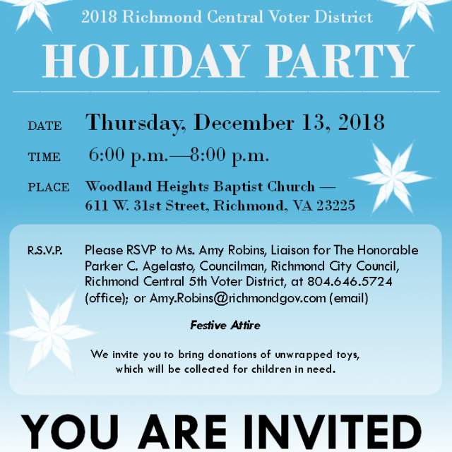 Councilmember Agelasto's 5th District Holiday Party