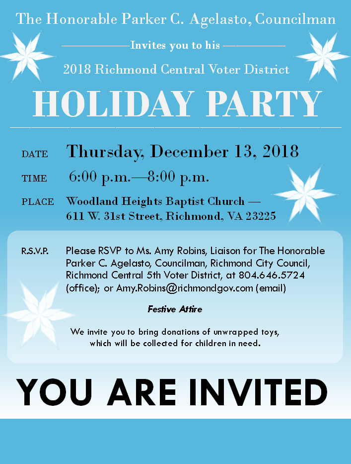 Flyer promoting Councilman Agelasto's holiday party.