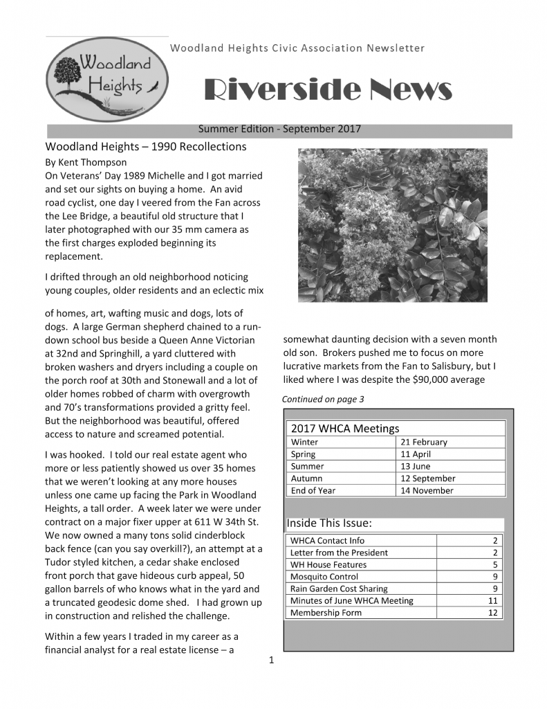 WHCA Riverside News - Summer 2017