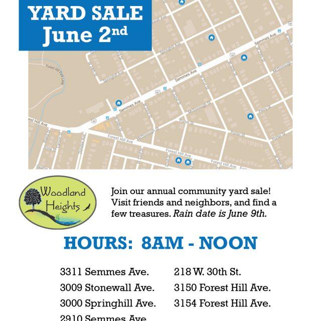 Woodland Heights Civic Association Community Yard Sale on June 2, 2018