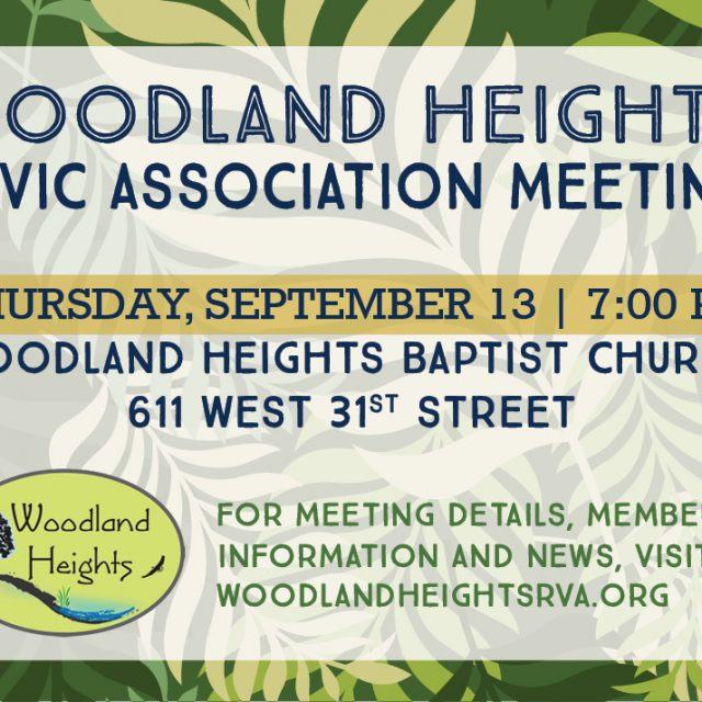 Woodland Heights Civic Association Meeting on September 13