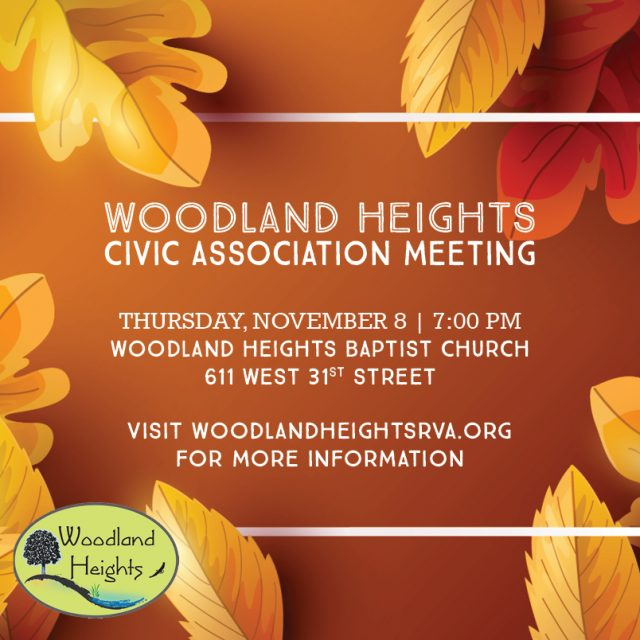 Woodland Heights Civic Association Meeting on November 8