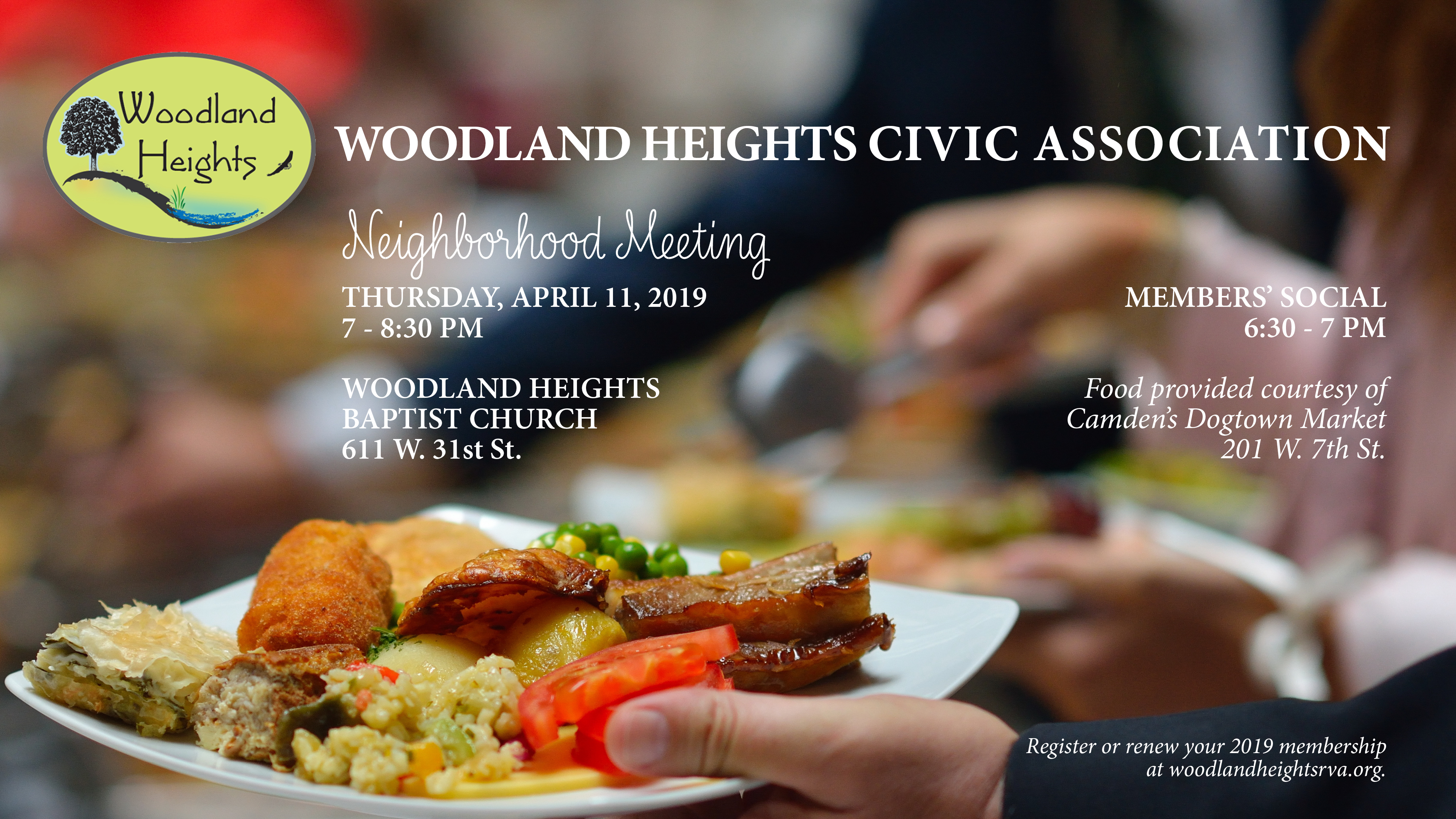 WHCA Neighborhood Meeting, April 11 at WH Baptist Church, 6:30-8:30 PM