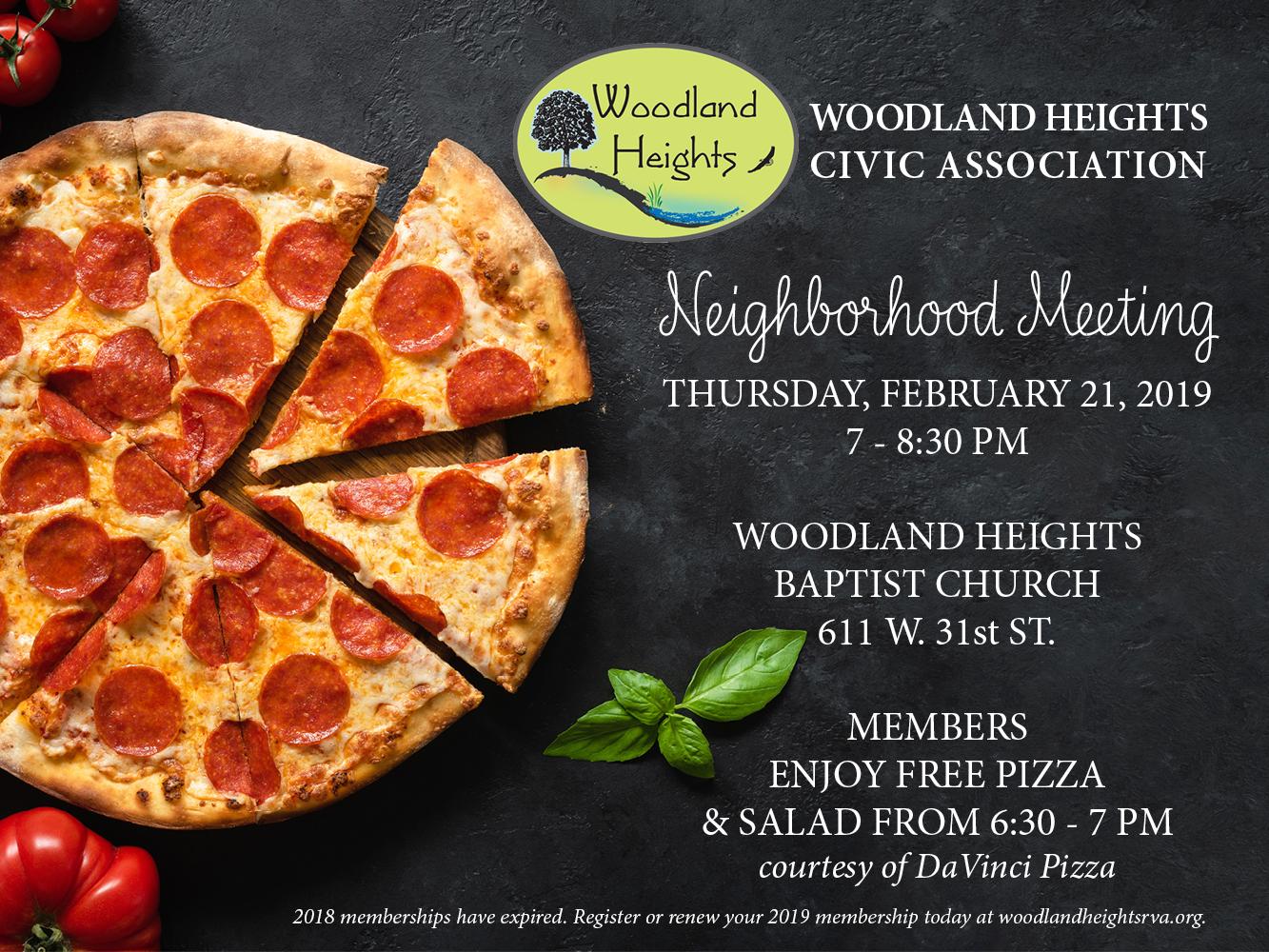 Woodland Heights Civic Association February 21, 2019 Neighborhood Meeting Details