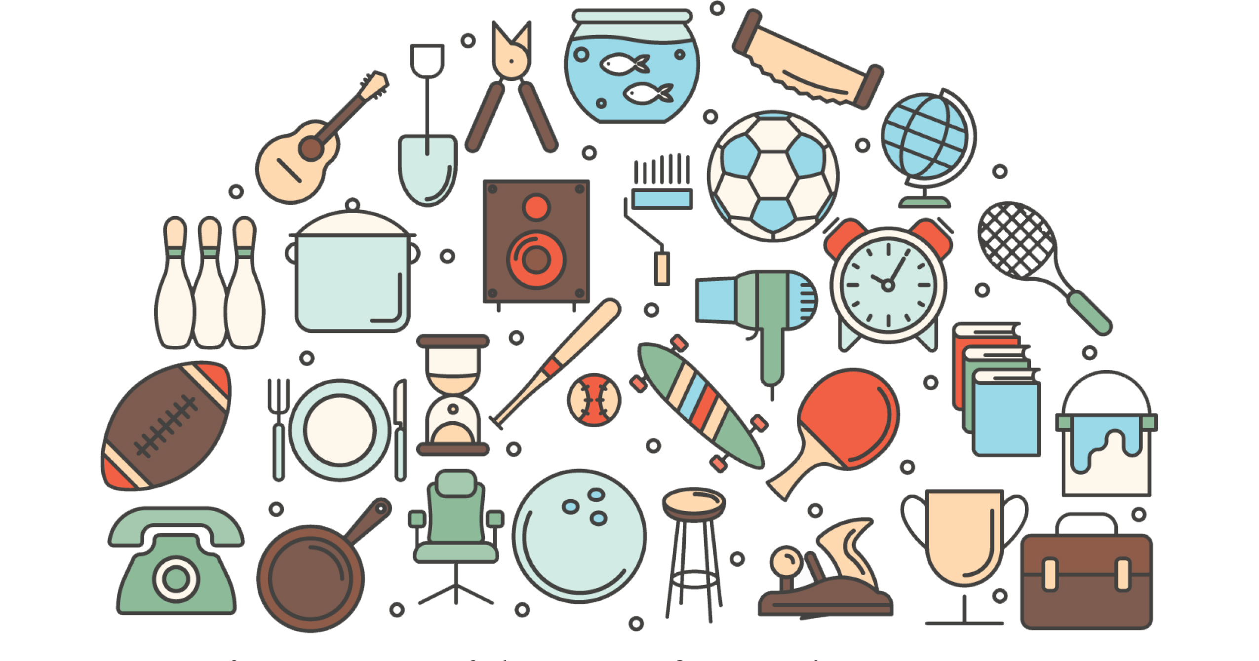 Illustration of household items for a yard sale.